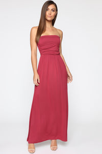 Reba Tube Maxi Dress - Burgundy
