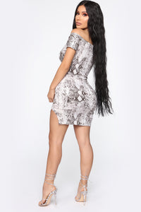 Slither Off To The Party Off Shoulder Dress - Ivory/Brown