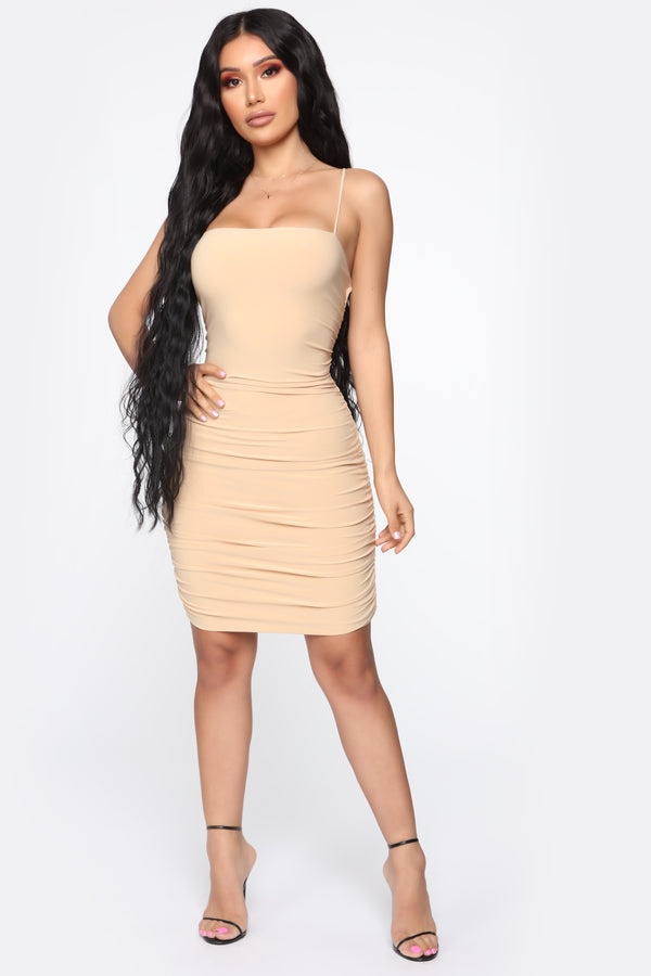 c915843aab Remember Me Ruched Mini Dress - Nude