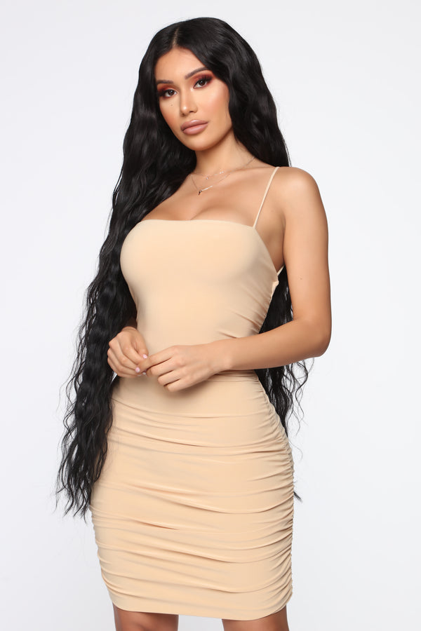 55a6d3936f Remember Me Ruched Mini Dress - Nude