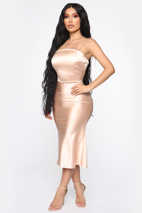 49d7c0316a26 Sweeter Than Candy Satin Skirt Set - Champagne