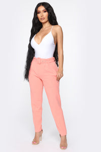 Talia Belted Pants - Salmon