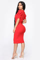 Tell Me More Midi Dress - Red