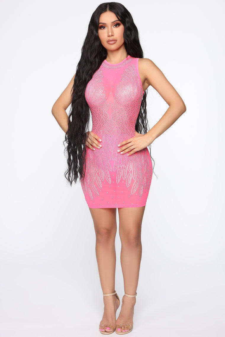 Praised In Jewels Rhinestone Mini Dress - Neon Pink