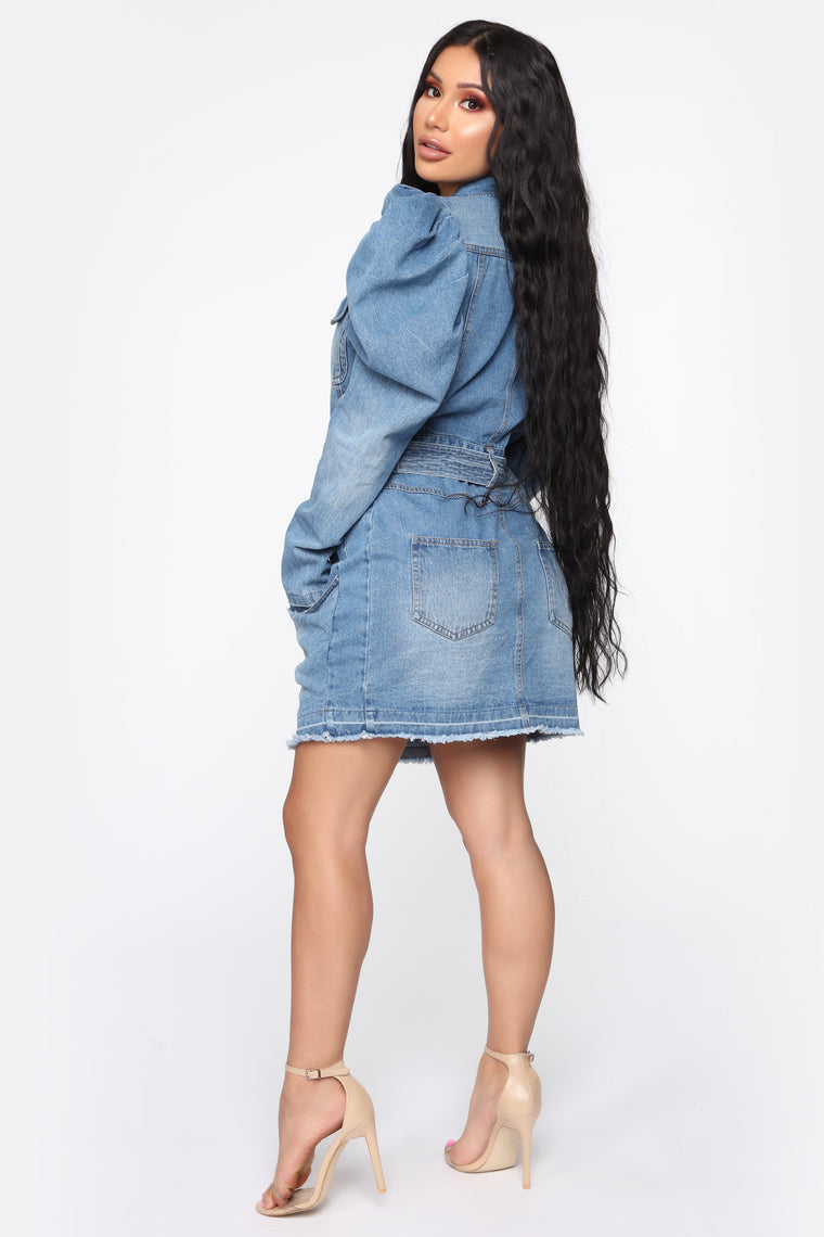 Dramatic Scene Denim Mini Dress - Light Denim