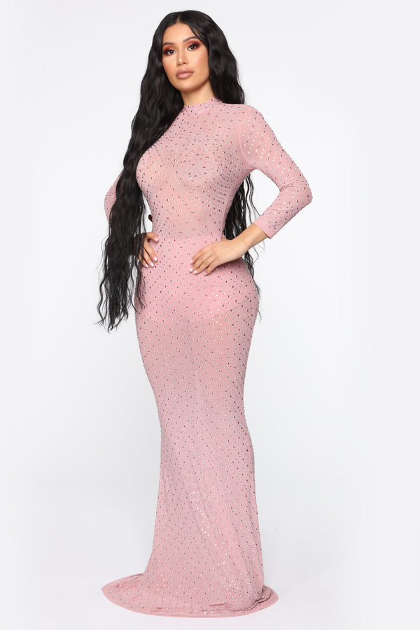 39349753fb13 In For The Dramatics Embellished Gown - Mauve