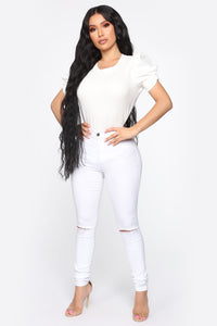 Olivia Puffy Sleeves Top - Ivory