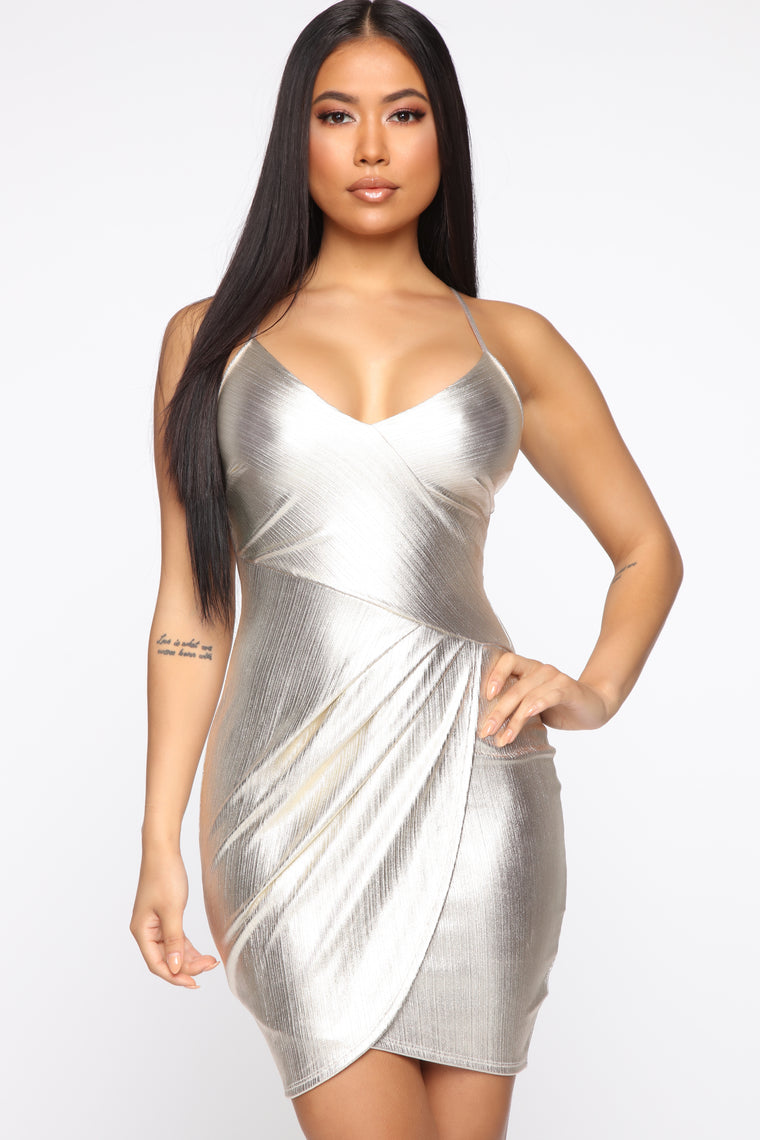 Crisandra Metallic Dress - Gold