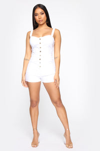 The New Standard Denim Romper - White