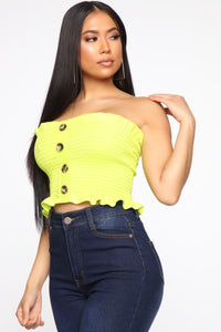 She's So Perfect Tube Top - Neon Yellow