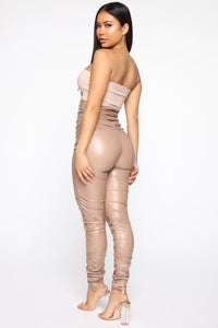 Ride Or Die Chick Ruched Leggings - Taupe
