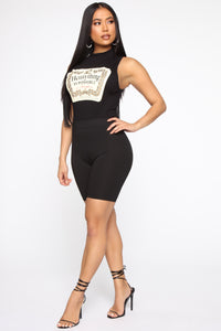 Anything Is Possible Sleeveless Bodysuit - Black