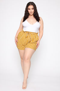 Clara Stripe Pleated Shorts - Mustard/Combo Angle 7