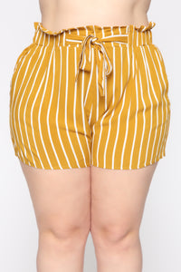 Clara Stripe Pleated Shorts - Mustard/Combo Angle 8