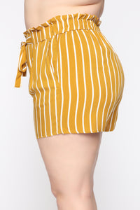 Clara Stripe Pleated Shorts - Mustard/Combo Angle 10