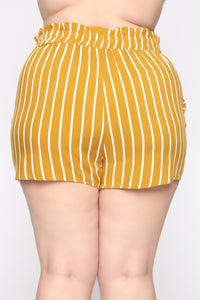 Clara Stripe Pleated Shorts - Mustard/Combo Angle 12