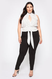 Escort Me Blouse - White/Black Angle 2