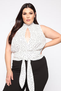 Escort Me Blouse - White/Black Angle 1