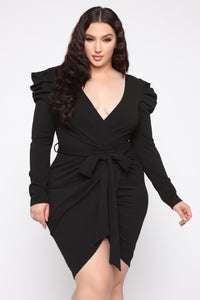 Demure Vix Wrap Dress - Black Angle 3