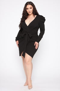 Demure Vix Wrap Dress - Black Angle 1