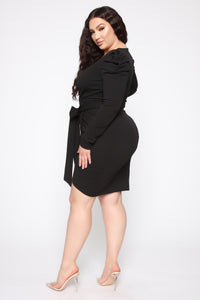 Demure Vix Wrap Dress - Black Angle 2