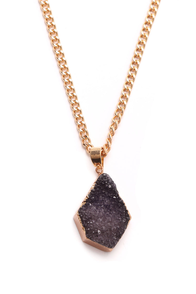 Amethyst Crystal Pendant Necklace - Gold/Purple