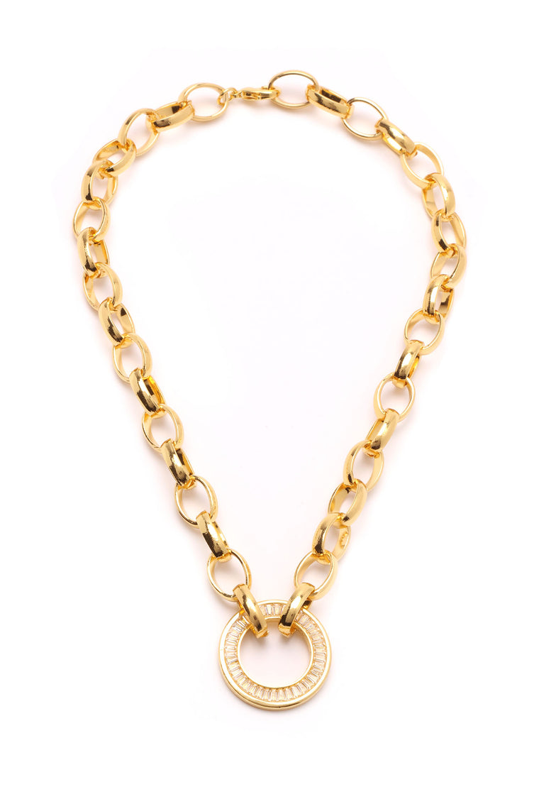 Iced Crystal Pendant Necklace - Gold