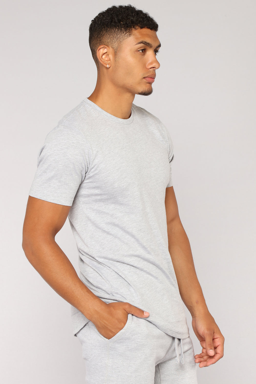 Essential Short Sleeve Scoop Tee - Grey