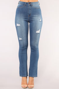Follow Your Bliss Flare Jeans - Medium Blue Wash