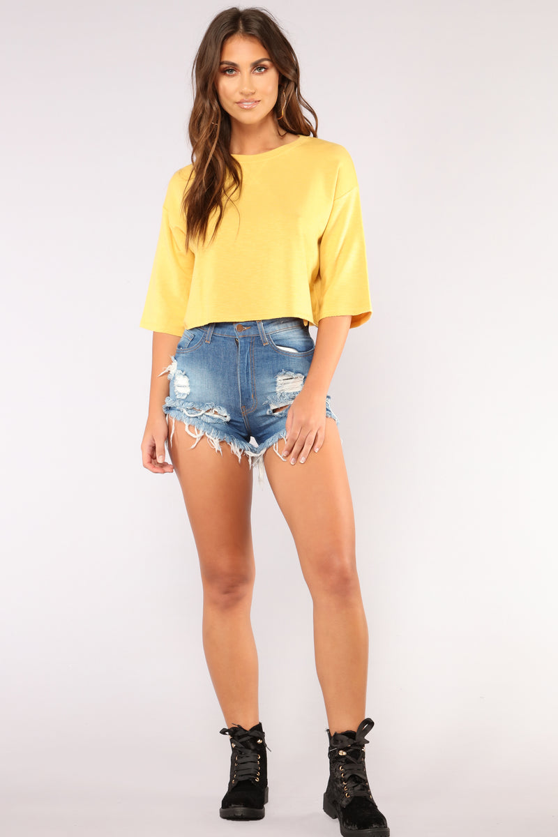 Double Up Denim Shorts - Medium Blue Wash