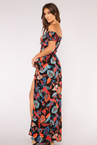 Long Beach Maxi Romper - Black/Rust