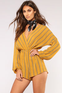 Subway Ride Stripe Romper - Mustard