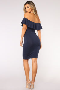 Berenice Flounce Dress - Navy