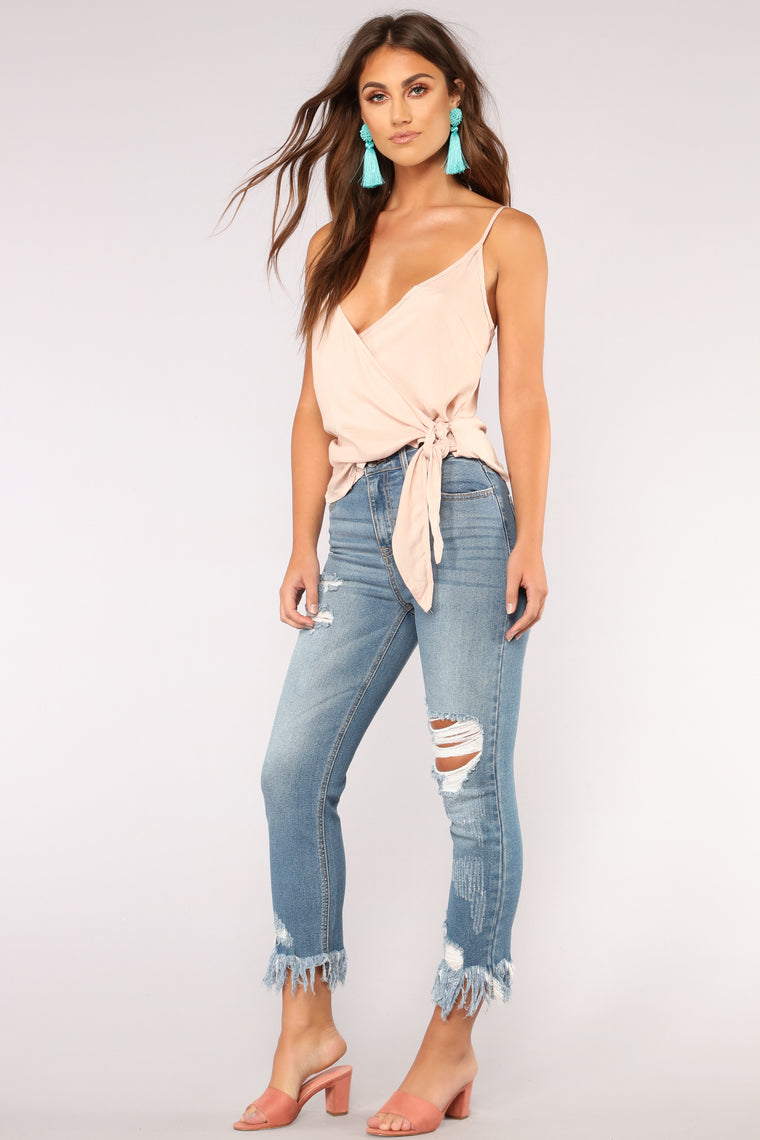 Love You To Shreds High Rise Distressed Jeans - MedBlueWash