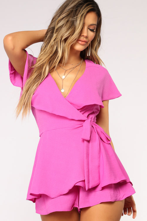 Got My Ruffles On Your Mind Romper - Orchid