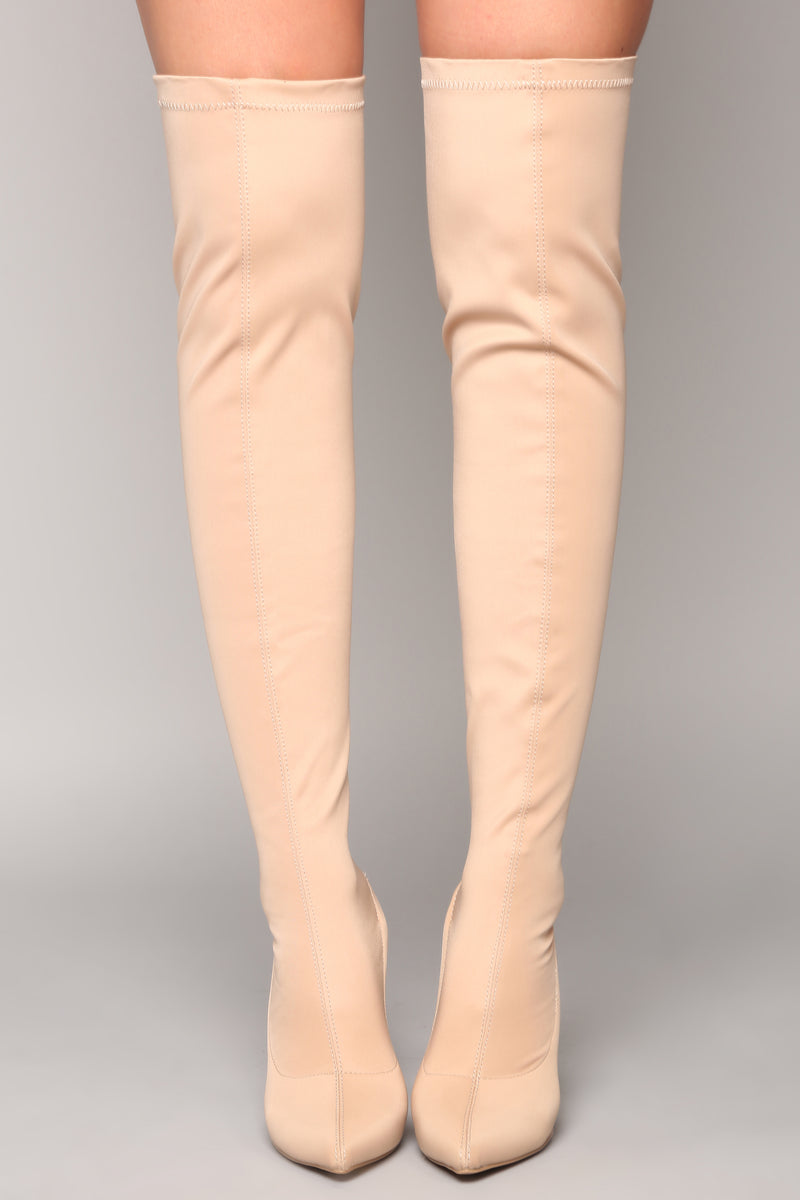 Heidi Over The Knee Boot - Nude