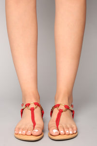 Ringing In Flat Sandal - Red Angle 4