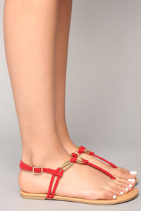 Ringing In Flat Sandal - Red Angle 5