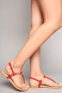Ringing In Flat Sandal - Red Angle 1