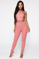 Teisha Lace High Neck Jumpsuit - Mauve