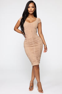 Simply Ageless Ruched Midi Dress - Nude Angle 2