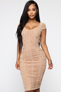 Simply Ageless Ruched Midi Dress - Nude Angle 3