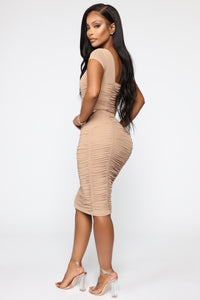 Simply Ageless Ruched Midi Dress - Nude Angle 4