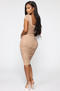 Simply Ageless Ruched Midi Dress - Nude Angle 5