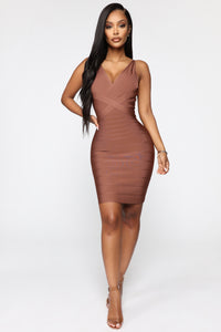 Snatched And Ready Bandage Mini Dress - Brown Angle 2