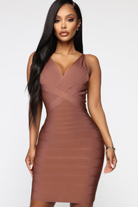 Snatched And Ready Bandage Mini Dress - Brown Angle 1