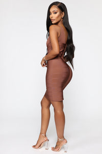 Snatched And Ready Bandage Mini Dress - Brown Angle 3