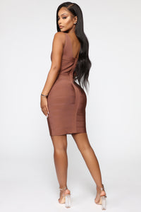 Snatched And Ready Bandage Mini Dress - Brown Angle 4