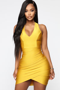You Can't Go Wrong Ruched Mini Dress - Mustard