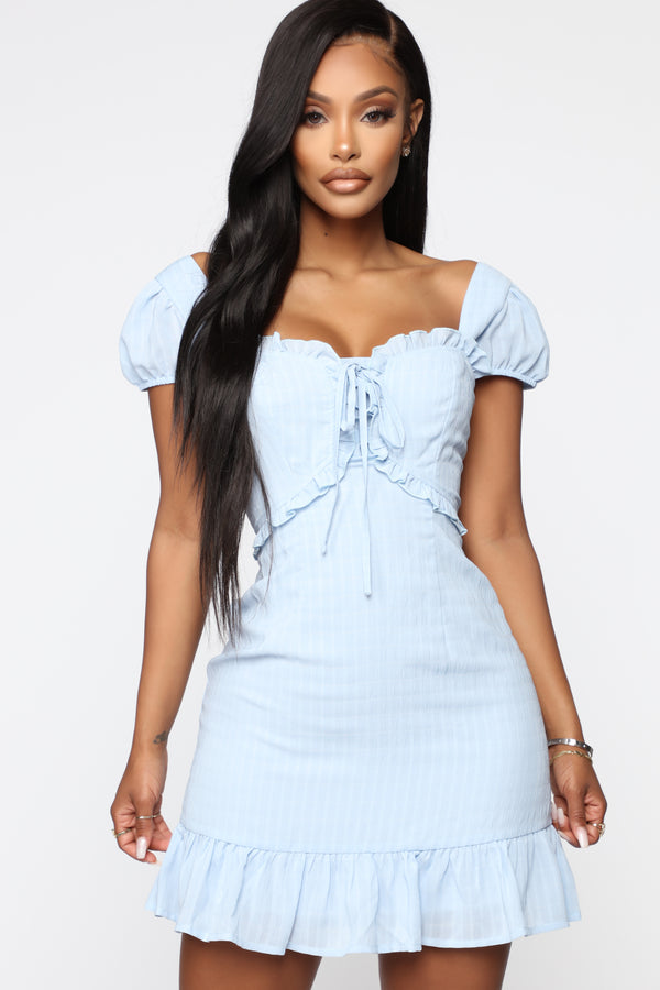 2bd13b6d474 Talk Slow To Me Ruffle Mini Dress - Light Blue